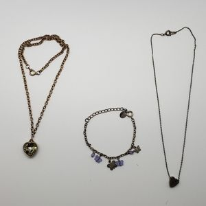 Butterflies Bracelet & Heart Charm Necklaces